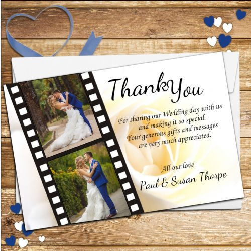 10 Personalised Film Reel Wedding Thank you Photo cards N6